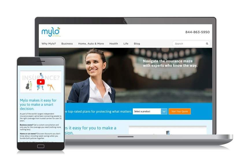 Mylo website desktop landing page and mobile page